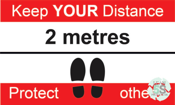 Red Factory Sign Keep Your Distance 500mm x 300mm Lean 5S Products UK