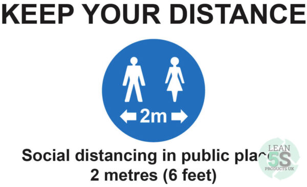 Factory Sign Keep Your Distance 500mm x 300mm Lean 5S Products UK