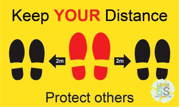 Yellow Factory Sign Keep Your Distance 500mm x 300mm Lean 5S Products UK