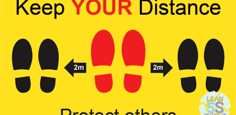 Yellow Factory Sign Keep Your Distance 500mm x 300mm