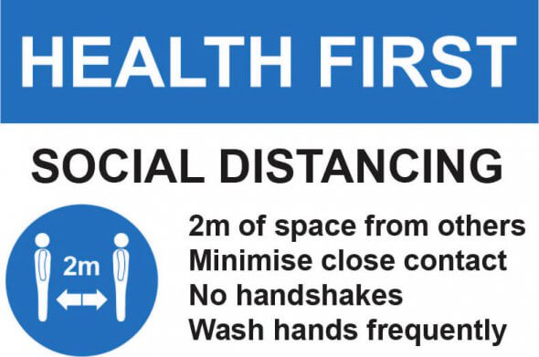 Social Distancing Health First Factory Sign A4